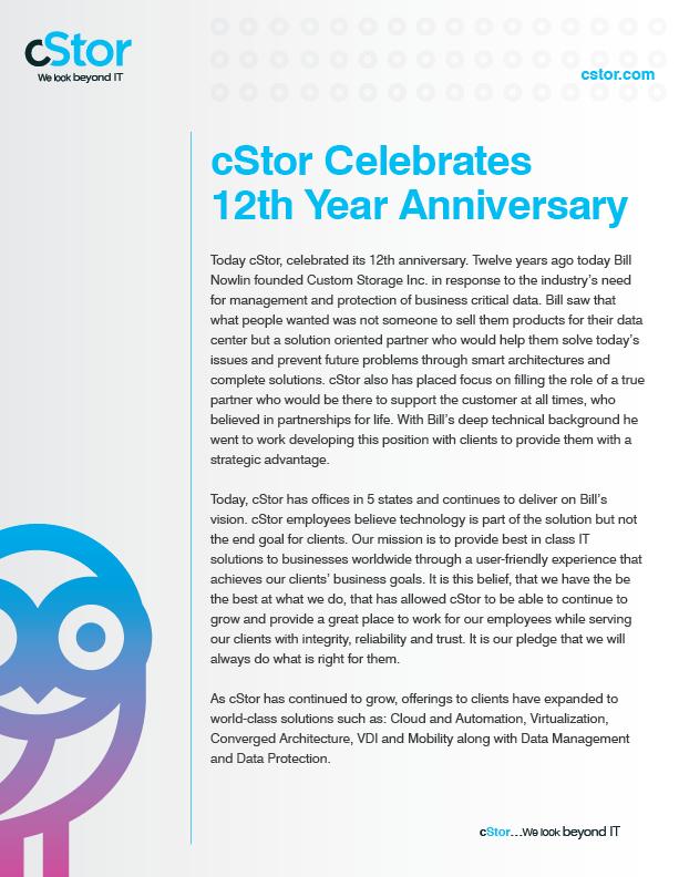 cStor Press Release