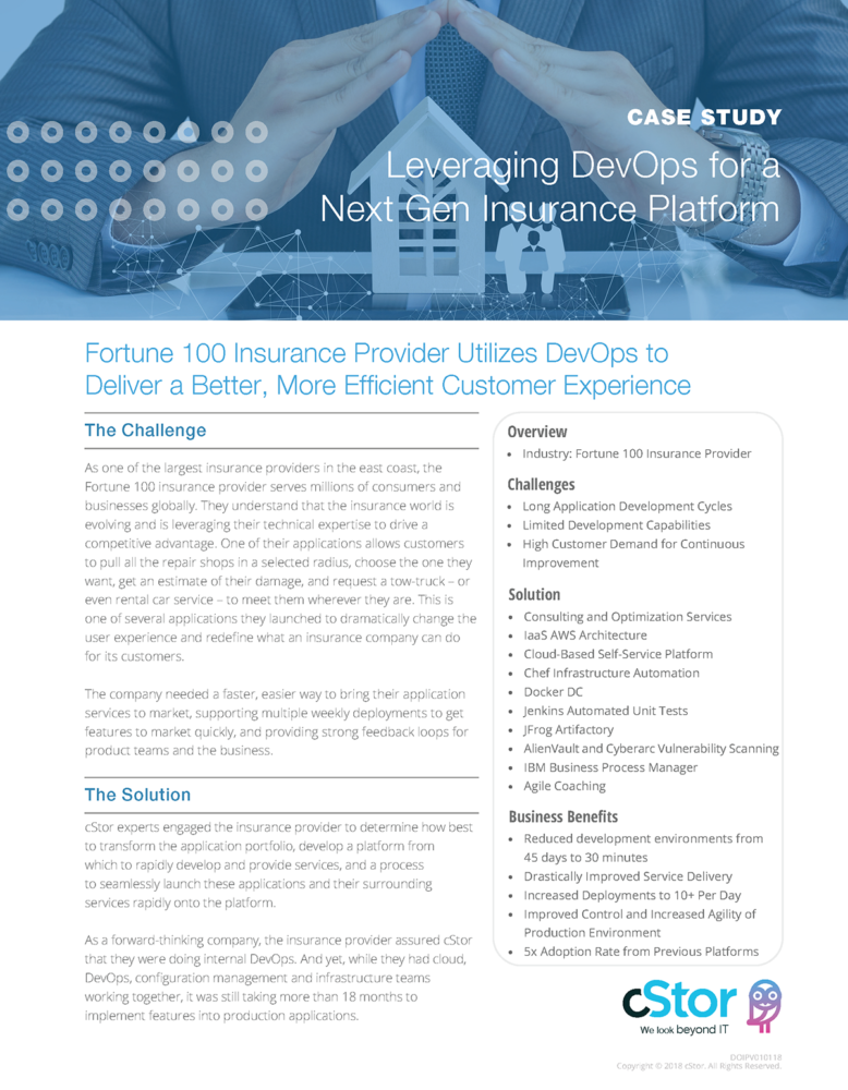 cStor Case Study: Optimize DevOps to Improve the Customer Experience
